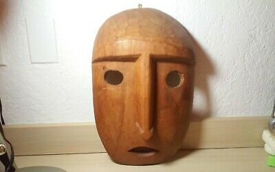 Exceptional vintage oceanic  Easter Island tribal carved wall sculpture,mask