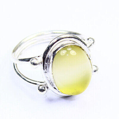 Yellow Chalcedony Fashion Jewelry .925 Silver Plated Ring  A01345