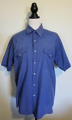 VINTAGE 70's ~ELY GENTLEMEN Mid Blue Poly Cotton Short Sleeve Western Shirt L