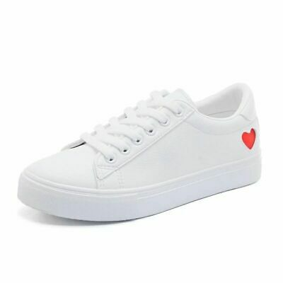 Women Canvas Shoes Casual Heart Lace-up Ladies Spring/Autumn White Sneakers Desi