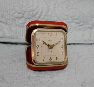 Vintage Rhythm Red Folding Travel Alarm Clock Made in Japan