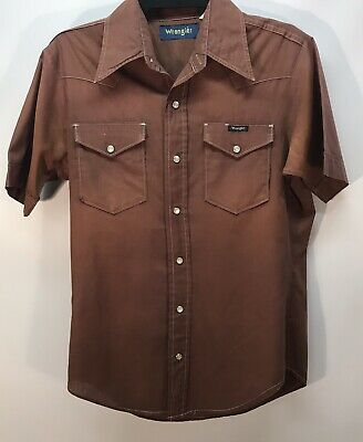Vintage Brown Wrangler Western Shirt - Size Small