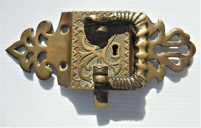 VINTAGE ANTIQUE Heavy Brass Key Latch for Large Travel Trunk American ~ AS SHOWN
