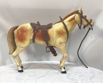 Vintage Hard Plastic Articulated Horse Toy - 27cm High