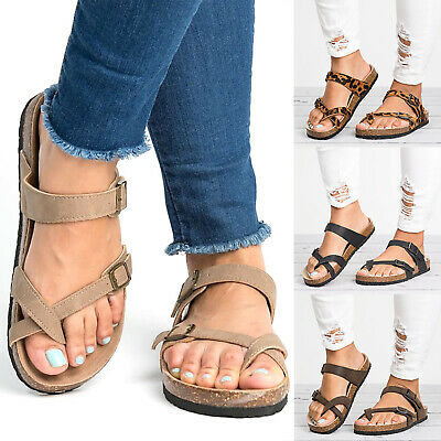 Womens Bunion Corrector Toe Sandals Flip Flops Summer Buckle Casual Flats Shoes