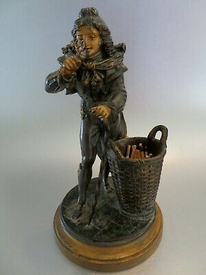 1900: a Rare French antique LSF spelter match holder statue with curious figure