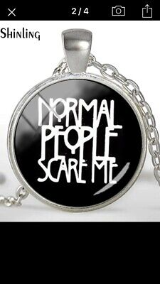 NORMAL PEOPLE SCARE ME Metal/Glass PENDANT American Horror Story Goth Wicca