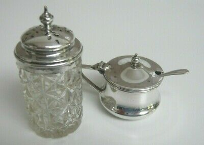 Vintage Dorchester Silver Plated Mustard Pot with Liner & Spoon plus Pepper Pot