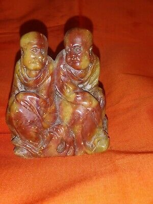 * Chinese Hand Carved Rare Stone(?) Two Munks In Prayer * 18Th-19Th Century *