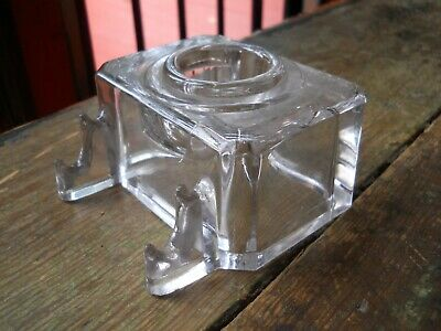 Antique Vintage Heavy Clear Glass Inkwell With Pen Stand