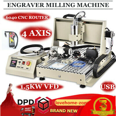 Usb 4 Axis 6040 Cnc Router Engraver Engraving Metal Woodworking Cutter 1.5Kw Rc