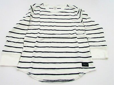 Baby Gap Boys' T Shirt Top 3 years cream striped long sleeves nautical new