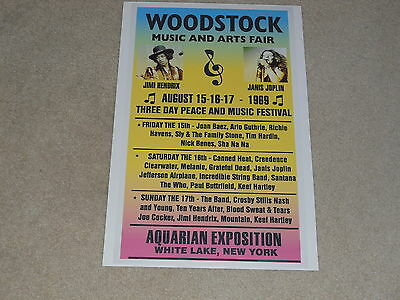 "Large Woodstock 1969 Concert Poster, 19""x13"" RARE! Many Bands Listed"