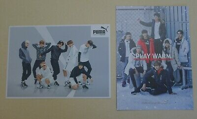 (Lot of 2) BTS PUMA Promo PostCard PhotoCard Group JungKook Jimin SUGA V J-Hope+