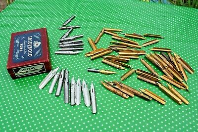 Vintage LOT ink DIP PEN NIBS in IRIDINOID Box : Perry,Brandauer,JacksonStub etc