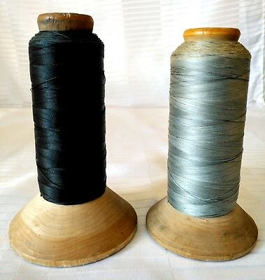 2 Vintage Wooden Industrial Textile Spool Bobbin w Thread Yarn Sewing Mill USA