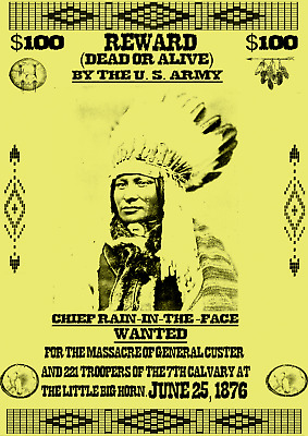 Old West Wanted Posters Reward Geronimo Chief Apache Sioux Custer Western Army