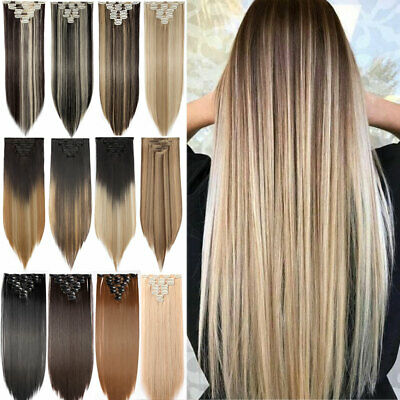 """Clip in 100% Real Natural Hair Extensions Full Head 8 Pcs 17-26"""" Long Straight H"""