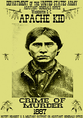Old West Wanted Poster Chief Geronimo Apache Kid Sioux Western Reward Custer