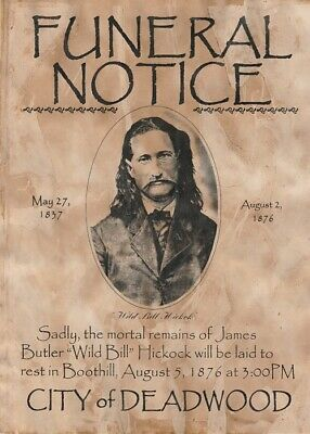 Old West Wanted Poster Reward Hickock Western Aces Deadman Marshall Deadwood