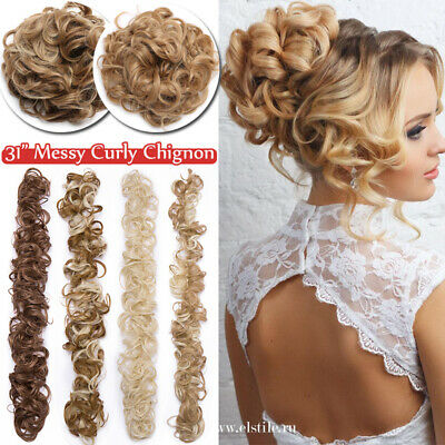 UK Long Scrunchie Messy Bun Chignon Curly Wavy LARGE THICK Hair Extensions Brown