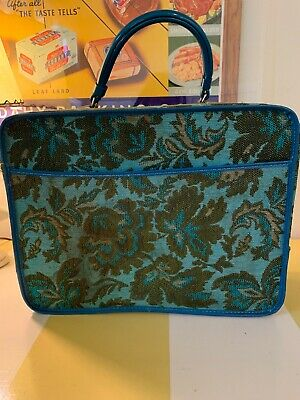 Vintage Flower Power MOD FLORAL Luggage 1960's Turquoise Small Tote Suitcase MCM