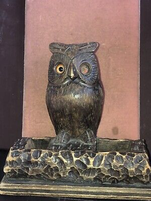 Antique Black Forest Carved Wooden Figure of an Owl Standing on Branch Inkwell ?