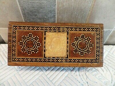 Antique Edwardian Tunbridge Ware Inlaid Rosewood Stamp Box With 3 Compartments