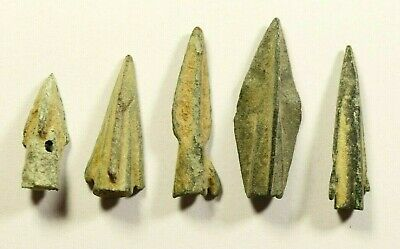 DESERT PATINA - Ancient Greek Scythian Arrow Head Bronze 5th c BC - LOT OF 5