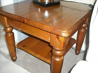 Ducal Antique Pine Coffee/Lamp Table  With Shelf Very Good Condition