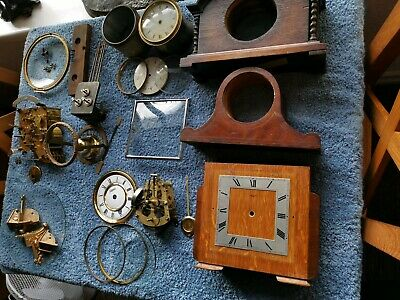 Antique Clock Parts Job Lot Spares cases dials glasses movement see all