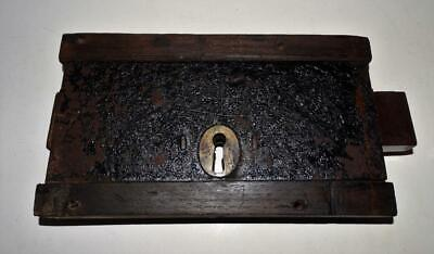 Large Antique Oak Cased Double Locking Lock,Collectible Architectural Antiques.