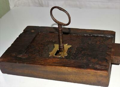 Large Antique Lock,Working,Original Key,Brass Escutcheon,Retailers Plaque.