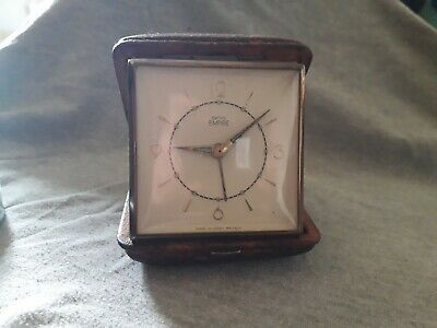 Vintage Smiths Empire Travel Alarm Clock Working In Leather Case