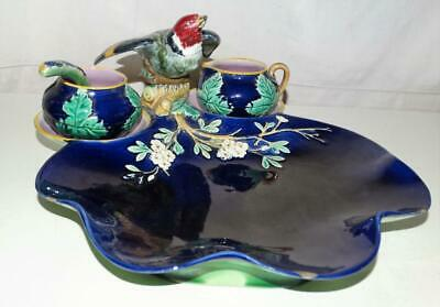 Rare Antique George Jones Majolica Strawberry Set With Spoon,Dated 1844.