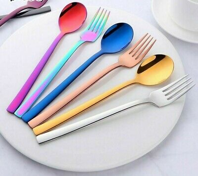 2Pcs Dinnerware Set Spoon Fork Tableware Food Grade Stainless Steel Dining Set