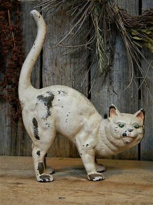 Rare Antique Cast Iron Hubley Arched White Cat Ghost Halloween AAFA