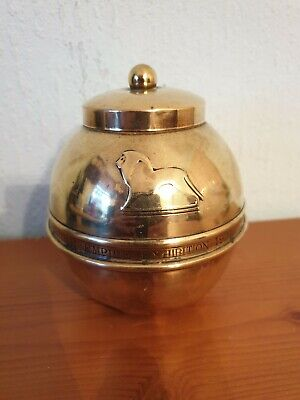 Vintage LIPTON BRITISH EMPIRE EXHIBITION Brass Tin Lined Art Deco Tea Caddy 1924