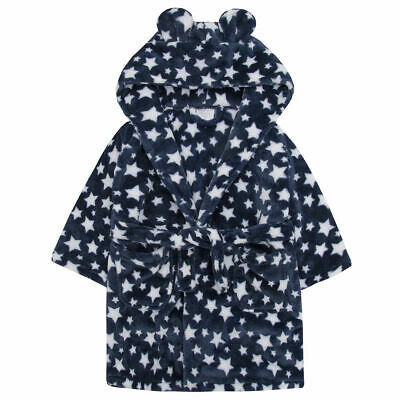 Girls Blue Star Robe Soft Hooded Fleece Bath Robe Dressing Gown XMAS Gift 2-6Yrs