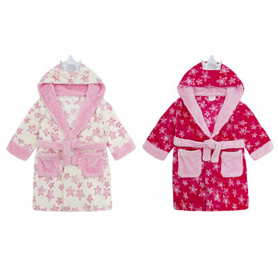 Girls Fairy Princess Wings Robe Plush Hooded Fleece Bath Robe Dressing Gown 2-6Y