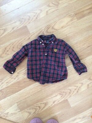 Toddler Boys Chaps 24 Month Button Front Dress Shirt Plaid Red Navy Holiday