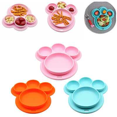 Dinner Dish Food-grade Silicone Baby Plate Suction Bowls Home Bear Paw Shape