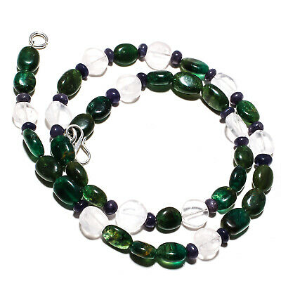 "Moss Agate Natural Gemstone Beads Jewelry Necklace 17"" 115 Ct."