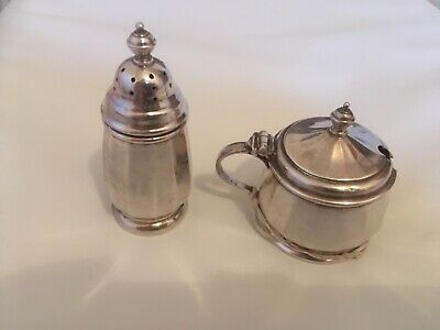 Art Deco Walker and Hall Silver Plated Mustard pot and Pepper Pot