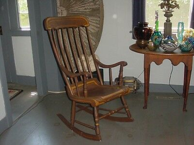 Antique Painted Wooden Boston Or Hitchcock Rocker Rocking Chair