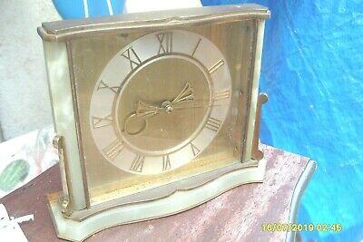 mantel  CLOCK  SMITHS  MARBLE  &  BRASS 8 DAY WIND UP  CLOCK