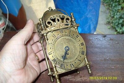 "Clock Parts Smiths Ticking  Lantern  Clock Key Wound 7"" Tall"
