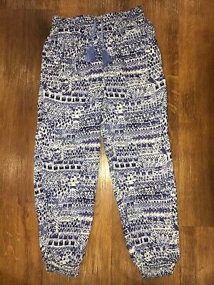 Girls Trousers Blue Aztec Print, Age 6-7 Years Summer Harem Pants.Excellent Cond