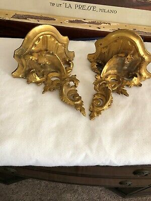 "2 Antique Italian Gilded Florentine Wall Shelf Hand Carved Wood 5.6""x6"""
