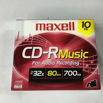 Maxell CD-R Music 10 Pk Sealed 700mb 80 Min 32X NEW Music Audio Recording